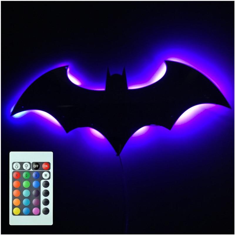 Зеркальный светодиодный ночник с дистанционным управлением, настенный светильник с 3D летучими мышами, 7 цветов, для крыльца, проецирования, ...
