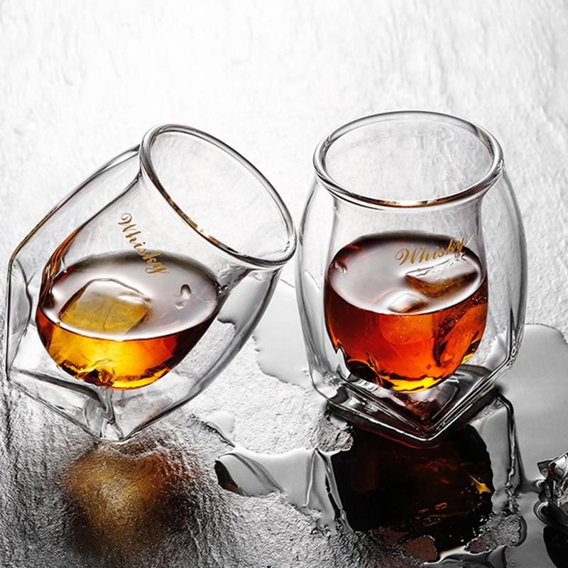 2 個クリエイティブ四コーナー鉛フリーガラスギフト用ウイスキーガラス人格ウイスキーグラスワイングラスドロップシッピング  グループ上の ホーム&ガーデン からの 透明 の中 2