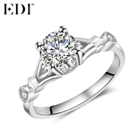 EDI Genuine Solitaire 1ct Round Cut Moissanite Diamond Natural Ruby Ring For Women 14k 585 White
