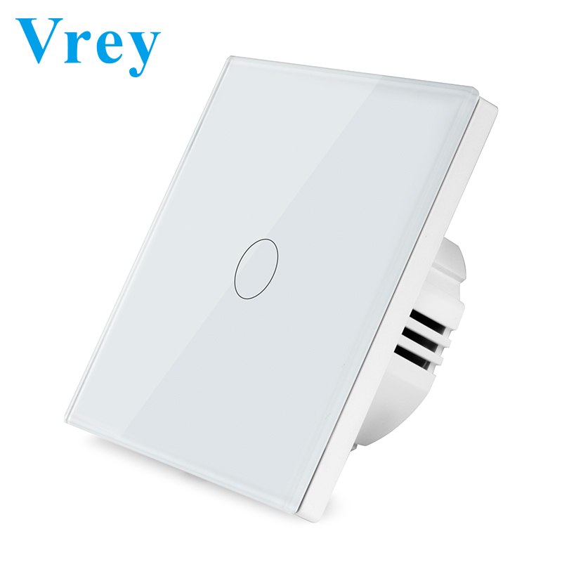 Vrey EU Standard Touch Switch,AC110V-220V Wall  Light Switch,Tempered Glass Crystal Panel And  1 Gang 2 Gang 3 Gang