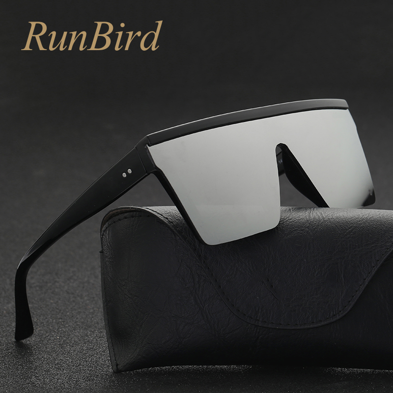 051f000beceeb RunBird Marca de Moda Preto de Uma Peça Óculos De Sol Dos Homens Oversize  Oculos Gafas
