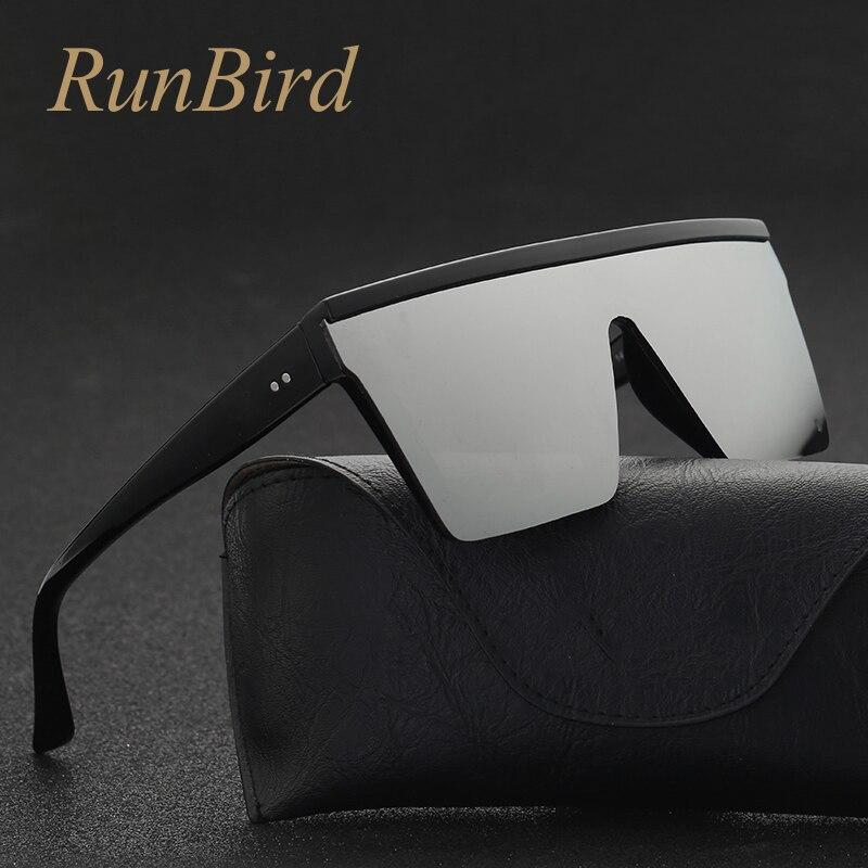 RunBird Brand Fashion Black One Piece Sunglasses Men Oversize Driving Cool Sun Glasses Square Male Oculos Gafas Eyewear 5121R
