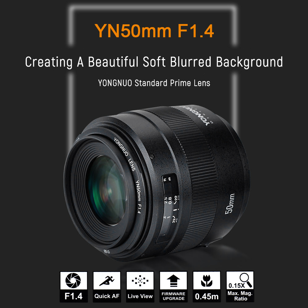 HOT SALE] YONGNUO 50mm YN50mm F1 4 Standard EF Lens Large