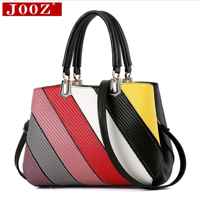 JOOZ hit color patchwork designer women handbags high quality Ruched Striped Tote bag brand women Shoulder Bag Bolsos Mujer