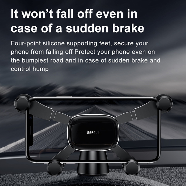 Baseus Car Phone Holder for iPhone Samsung Gravity Mount Holder Stand Dashboard Car Holder for Huawei Xiaomi Mobile Phone Holder 4