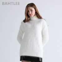 BAHTLEE winter women's angora Jumper turtleneck pullovers knitting sweater long style long sleeve keep warm white