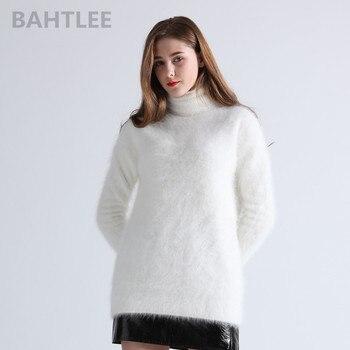 BAHTLEE winter women's angora Jumper turtleneck pullovers knitting sweater long style long sleeve keep warm white