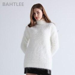 Jersey de angora de invierno para mujer de BAHTLEE, jersey de cuello alto, suéter tejido, jersey de manga larga, blanco cálido