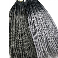 Pervado Hair African 3S Box Braids Synthetic Braiding Hair Extensions 22inch Black to Dark Grey 2Tone Ombre Crochet Hairstyle