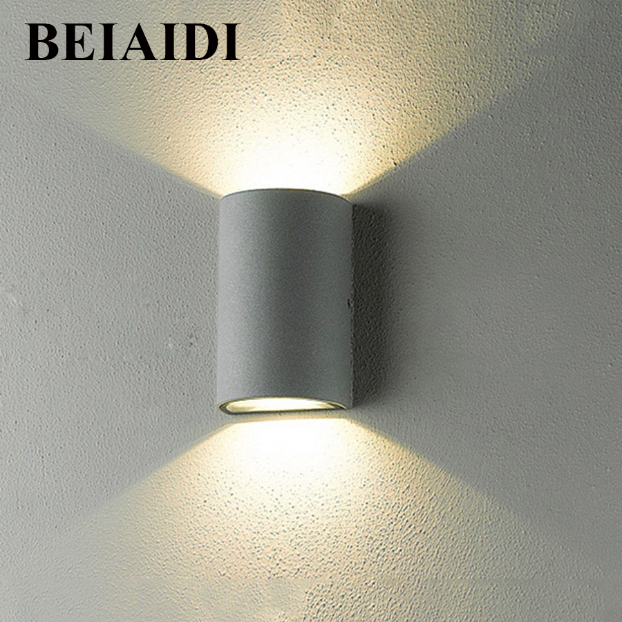 BEIAIDI Outdoor Waterproof COB LED Wall Lamps 6W 10W Surface Mounted Graden Corridor Staircase Balcony Sconce Light AC110V/220V beiaidi 6w waterproof cob led wall lamps up and down outdoor indoor home porch balcony graden corridor wall sconce light