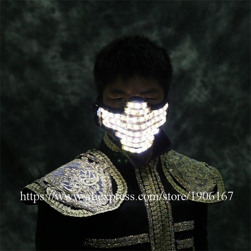 Горячая Распродажа, светодиодная яркая светящаяся маска для вечеринки, светодиодная светящаяся маска для защиты лица, маски для Хэллоуина, ... - 5