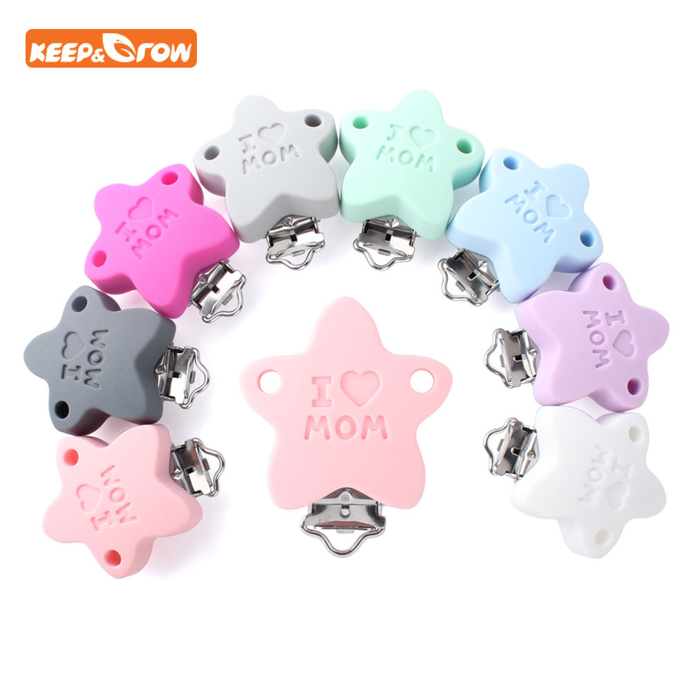 Keep&grow 3Pcs Baby Pacifier Clip Soother Teether Star Shape Silicone Holder Saliva Towel Support Anti Fall Silicone Holders