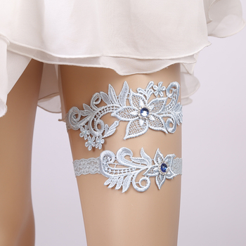 Wedding Garter Rhinestone Lace Flower Blue Sexy Garters 2pcs set for Women/Female/Bride Thigh Ring Bridal Leg Garter Garters