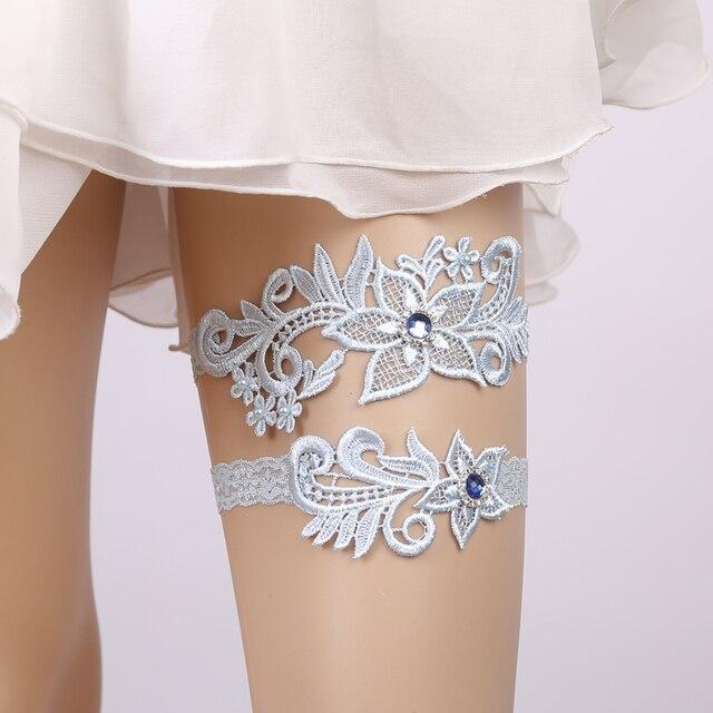 30f46f72b Wedding Garter Rhinestone Lace Flower Blue Sexy Garters 2pcs set for Women  Female Bride Thigh Ring Bridal Leg Garter