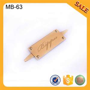 MB63 Customized gold logo design sewing metal labels for c4eba2d6f64dc