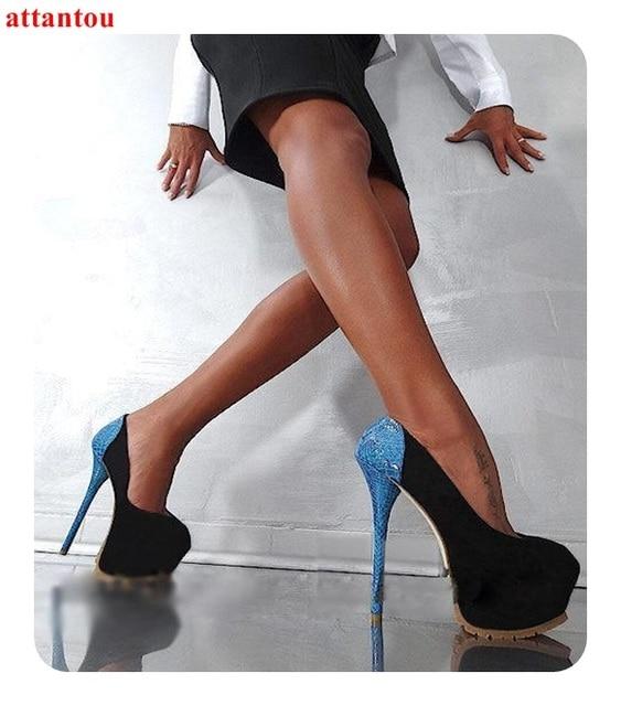 c46ed714361a Woman s high heels black suede blue snakeskin platform heels sexy pumps  single shoes thin heel female party model dress shoe