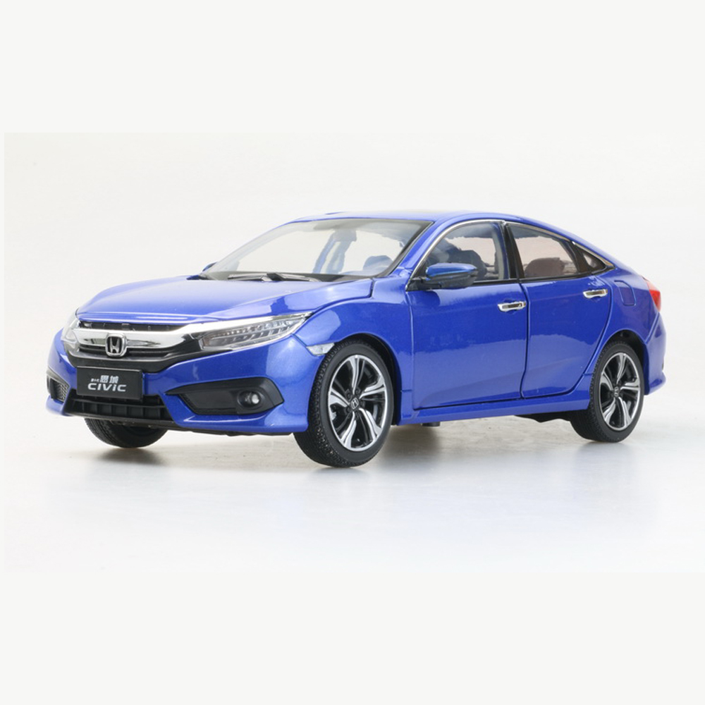 1:18 Diecast Model for Honda Civic 2016 MK10 Blue Sedan Alloy Toy Car Miniature Collection Gifts 1 43 diecast model for honda civic 2016 mk10 white alloy toy car miniature collection gifts