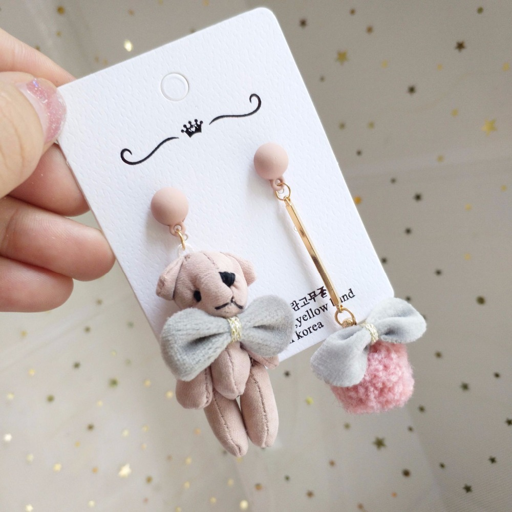 Korea Handmade Cartoon Bear Bow know Women Drop Earrings Dangle Earrings Fall Winter Fashion Jewelry Accessories-JQD5