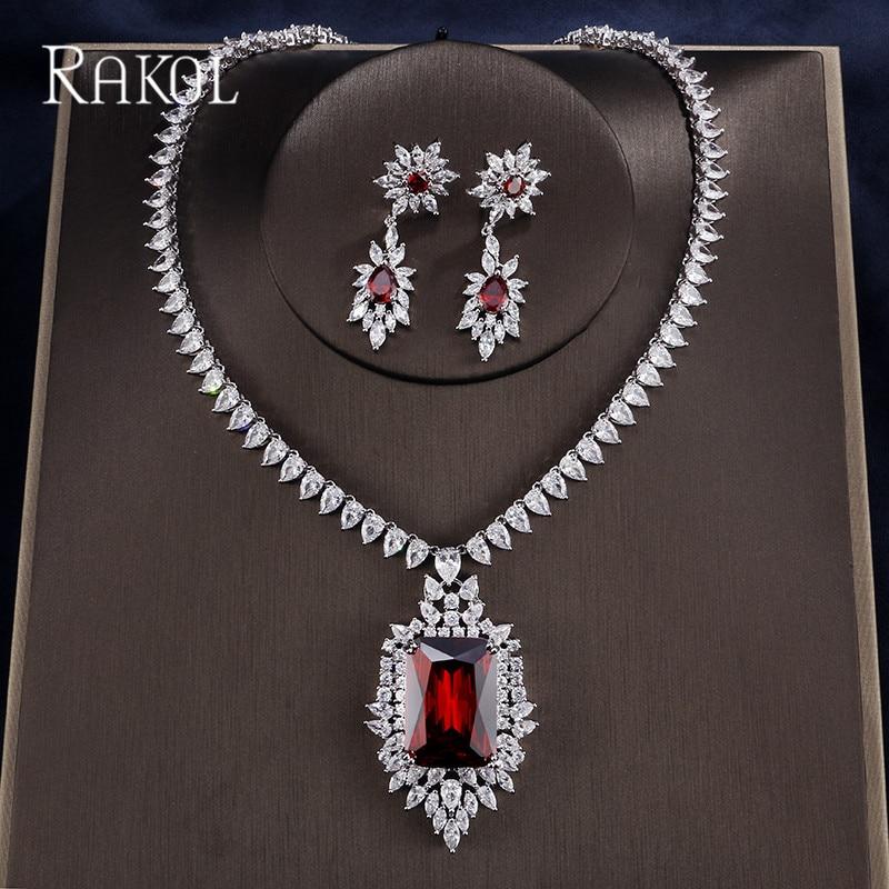RAKOL luxe bleu cubique zircone boucles d'oreilles collier pour les femmes blanc or couleur mariage dîner fête mode bijoux ensemble RS1097K