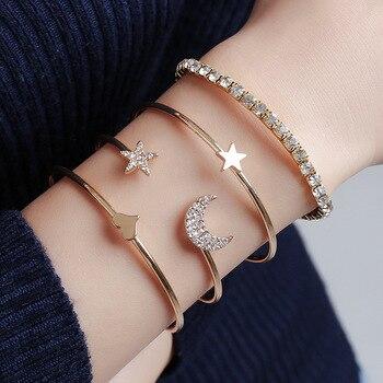 4pcs/set Women Bracelets Bohemian Pentagram Peach Hearts Stars Moon Open Bracelet for Women Fashion Apparel Jewelry Xmas Gifts