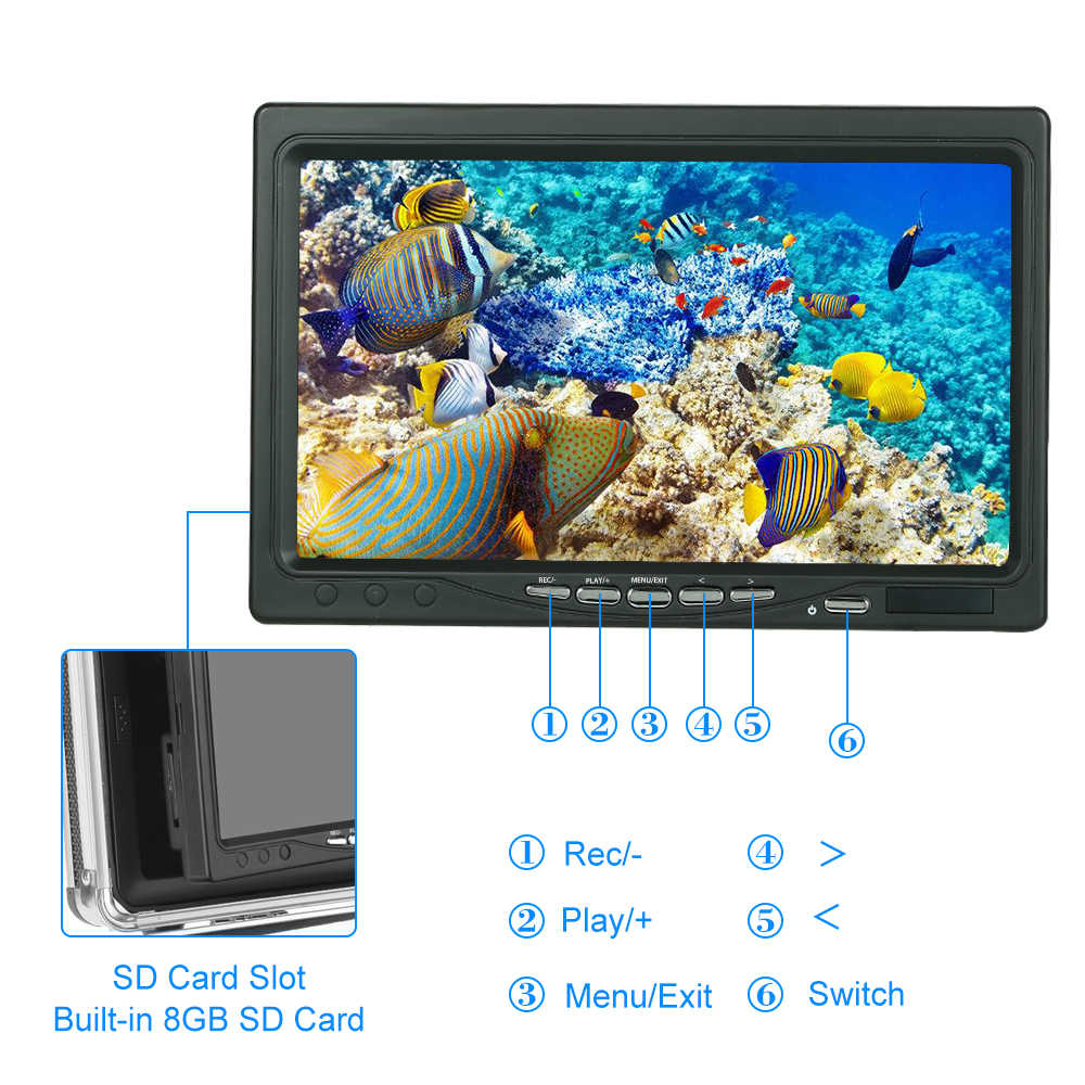 Underwater Camera Fish Finder Portable Alloy Case With 7'' LCD Video Monitor For Ice/Sea/River Fishing (Camera Not Included)