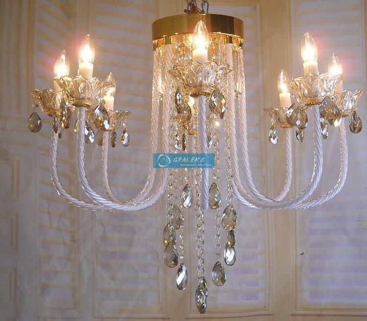 Roman Bedroom luxury crystal chandelier lamp 8 arms white candle chandelier crystal lamp living room Childrens Room lighting