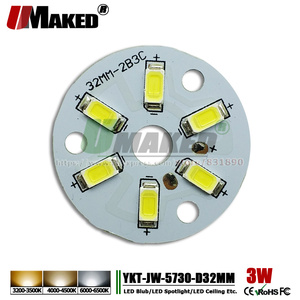 UMAKED 3 W 32mm LED PCB płyta lampy SMD5730 diody LED zainstalowany lekka płyta płyta aluminiowa ciepłe/naturalne/ biały dla żarówka Ceilig światła
