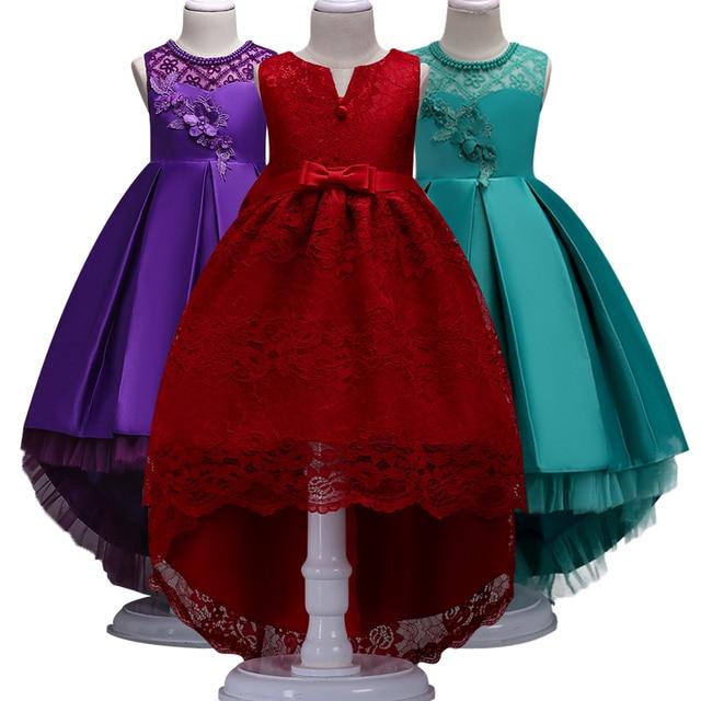 Trailer Puffy Vestido Da Menina flor Vermelho Eucaristia Participou de Primeira Comunhão Casamento Vestido de festa Menina Princesa Rendas Vestido de Noite