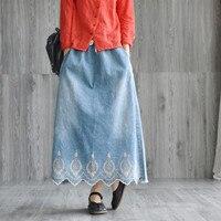 New Loose Wild Long Cotton Fashion Embroidered Denim Women Skirt Spring Summer a line Denim Female Skirt