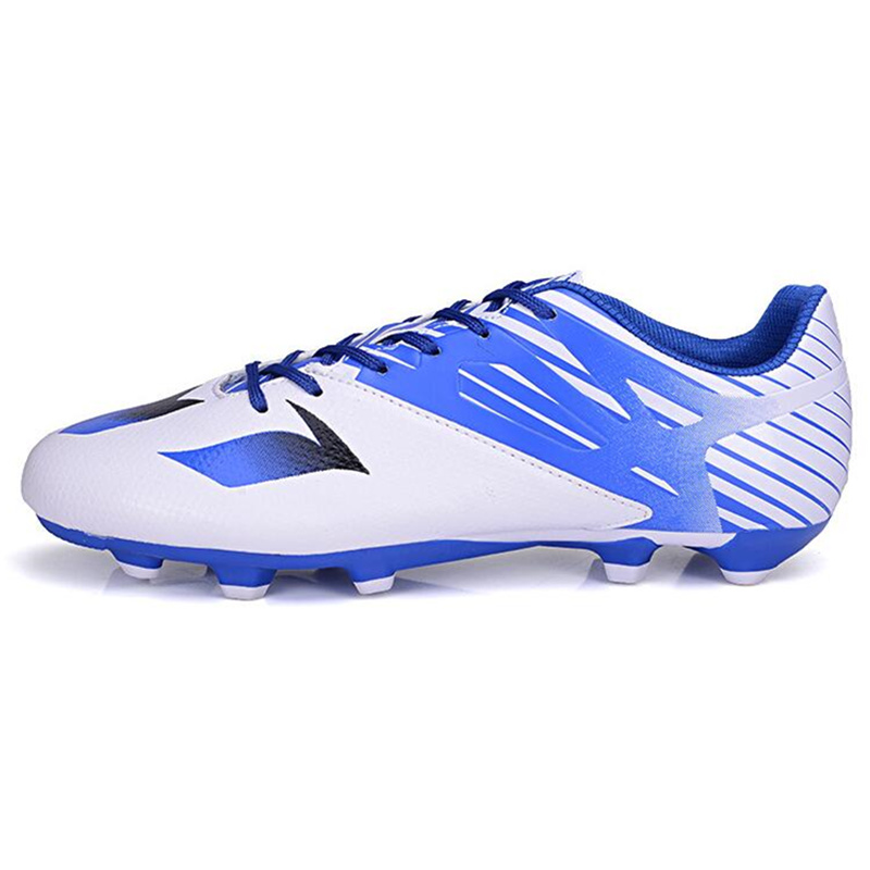 MAULTBY Men s White Blue AG Sole Outdoor Cleats font b Football b font Boots Shoes