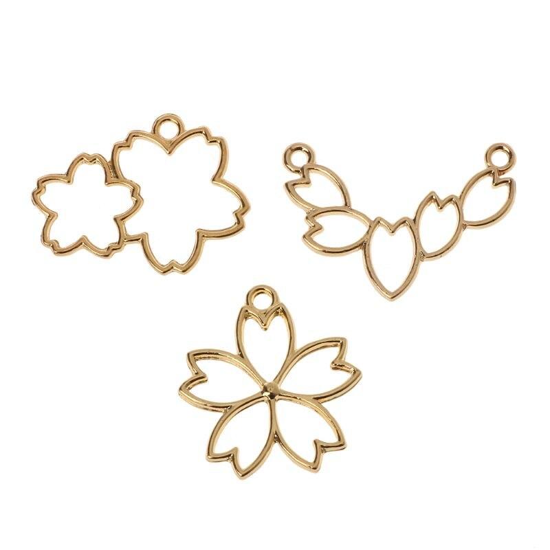3Pcs Cherry Flower Resin Frame Pendant Open Bezel Setting Resin Jewelry Making