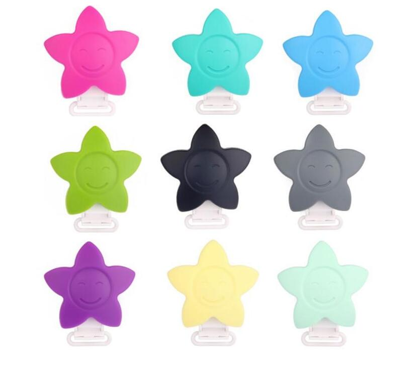 10pc Sun Flower Pacifier Clip Silicone+Plastic Clip Baby Dummy Teether Toys BPA Free Soother Chain Clips Holder for Baby Carrier