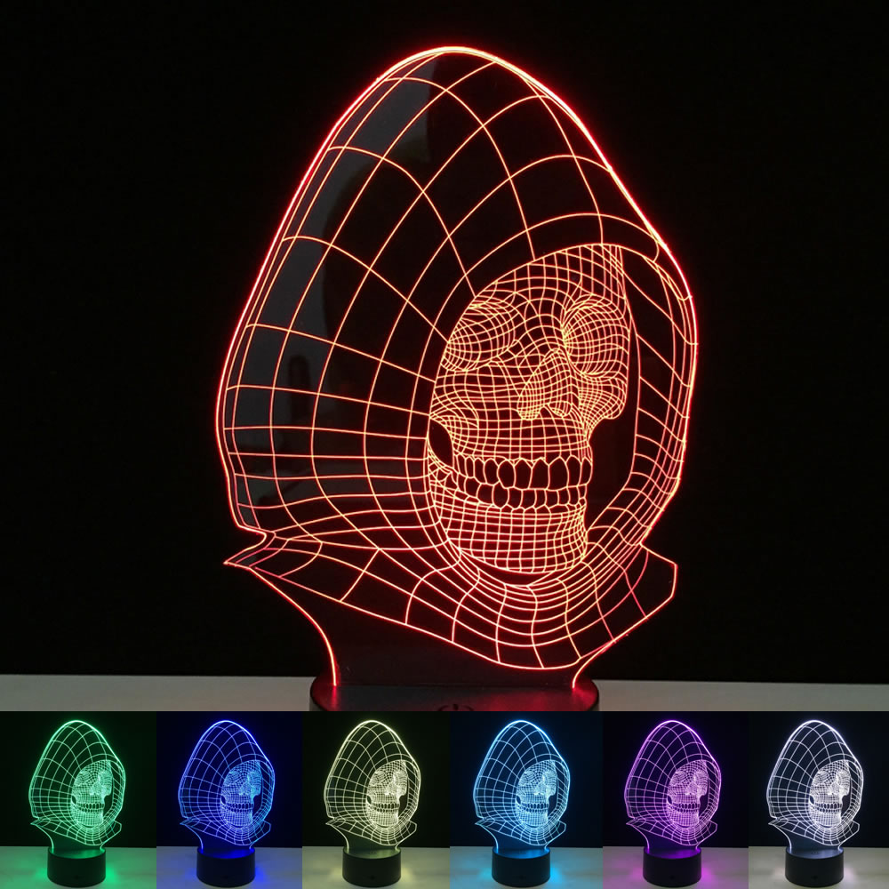 buy LED Night Light 7 Color Changing Skull Acrylic Discoloration Colorful Atmosphere Lamp Novelty Lighting Creative 3D illusion Lamp pic,image LED lamps deals