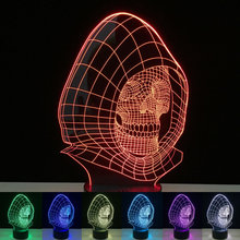 cheap LED Night Light 7 Color Changing Skull Acrylic Discoloration Colorful Atmosphere Lamp Novelty Lighting Creative 3D illusion Lamp,image LED lamps offers