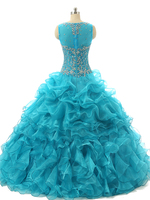 Sleeveless Blue Cheap Quinceanera Gowns Ball Gown Formal Beading Vestidos Para Quinceaneras 2016 Ball Gown Quinceanera Dresses