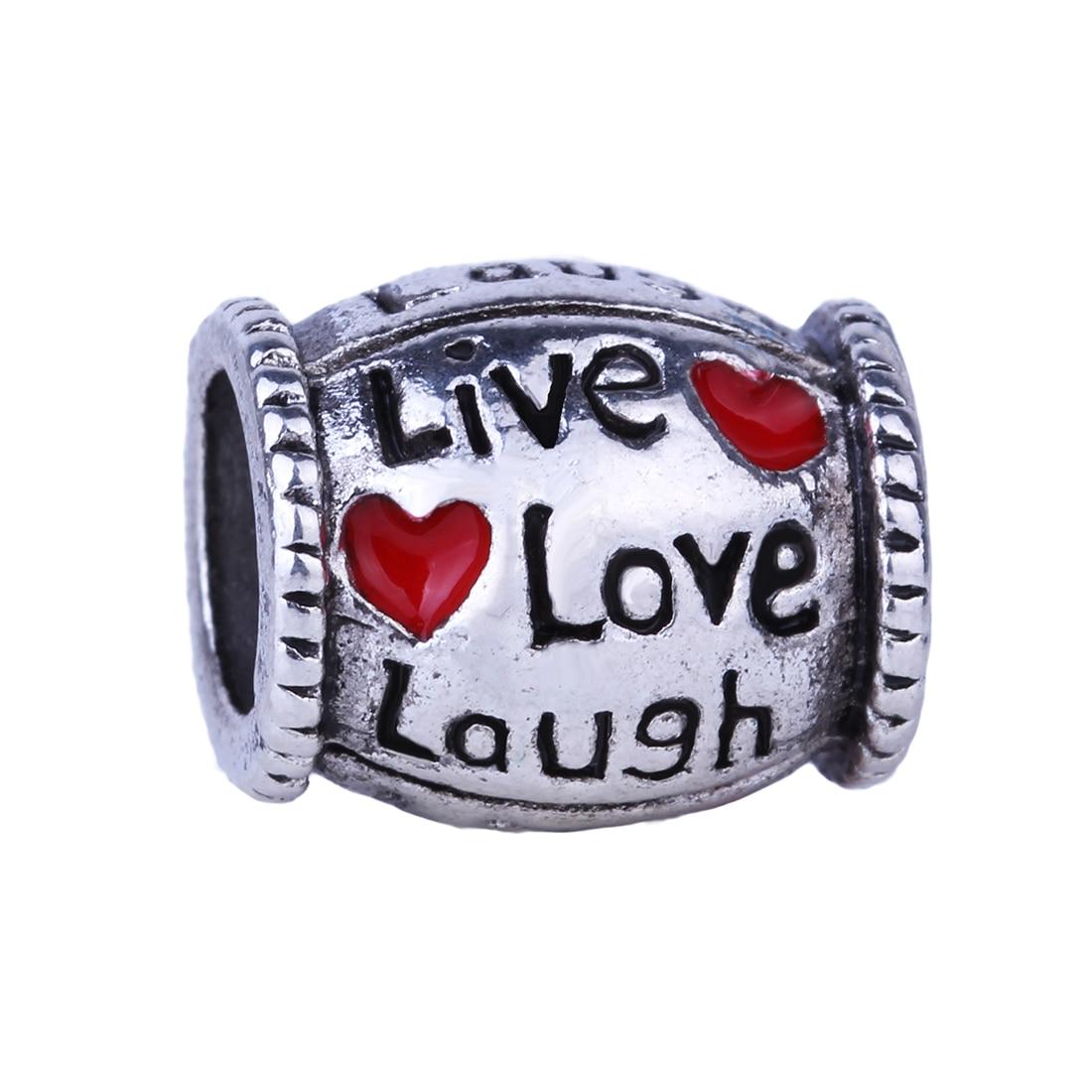 Free Shipping 1pc <font><b>Live</b></font> <font><b>Love</b></font> Laugh Silver Bead Charm European <font><b>Enjoy</b></font> <font><b>Life</b></font> Heart Fashion Bead Fit Pandora Bracelets & Necklace