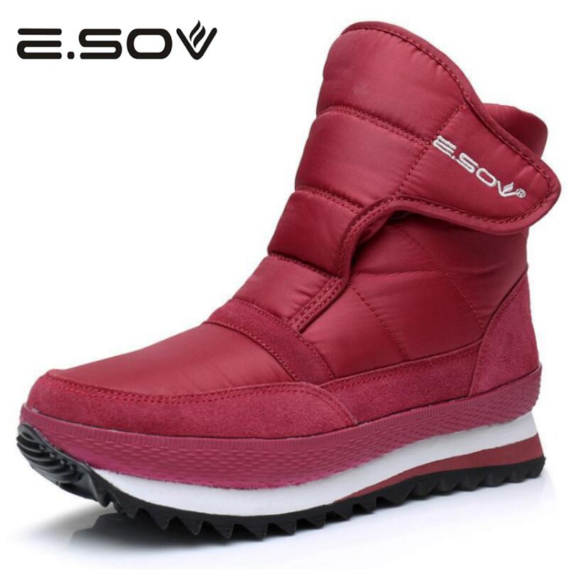 Esov Plus Size Women Boots Russia Waterproof Platform Fur Female Warm Ankle