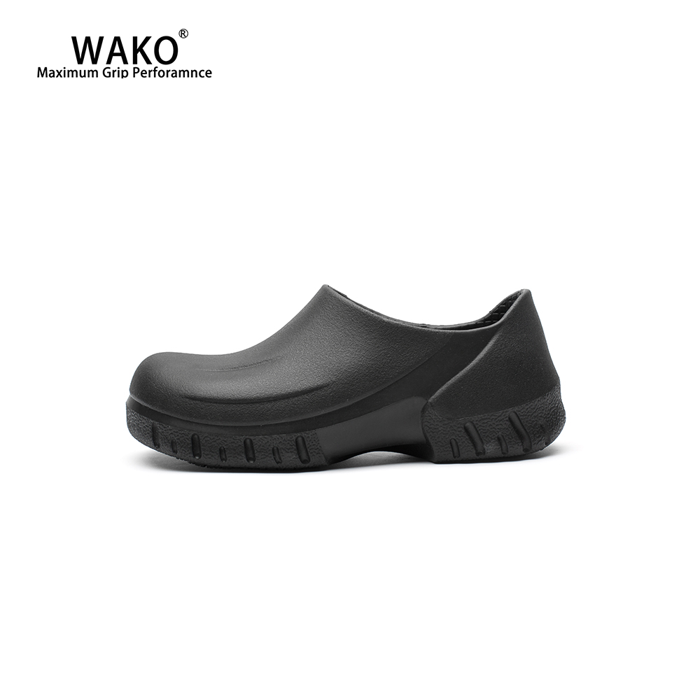 WAKO Anti-Skid Chef Shoes For Men Non-Slip Hotel Restaurant Kitchen Work Shoes Waterproof Safety Cook Shoes Sandals Black 9033