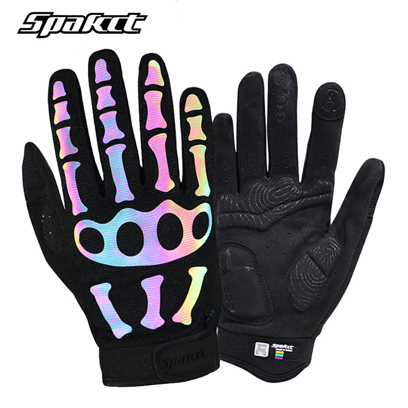 SPAKCT Bicycle Reflective Gloves Winter Breathable Full Finger Unisex Ghost Claw Skull Gloves Outdoor Sports Cycling Bike Gloves spakct bike cycling men s gloves winter full finger gloves bike bicycle guantes ciclismo racing outdoor sports black new motor
