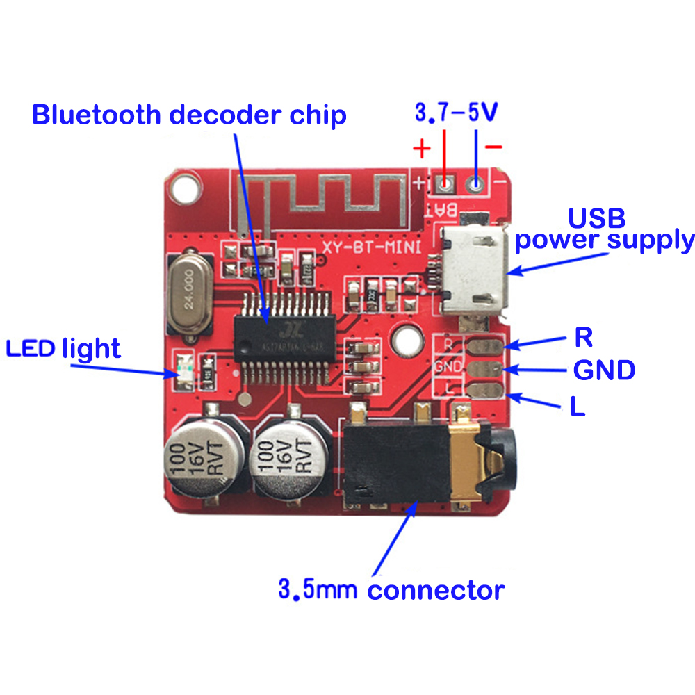 MP3 <font><b>Bluetooth</b></font> Decoder Board Lossless Car Speaker Audio <font><b>Amplifier</b></font> Board Modified <font><b>Bluetooth</b></font> 4.1 Circuit Stereo Receiver Module <font><b>5V</b></font> image