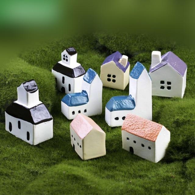 1 Piece Mini Mediterranean Chapel Church House Figurine Miniature  Decoration For Mini Fairy Garden Statue Resin