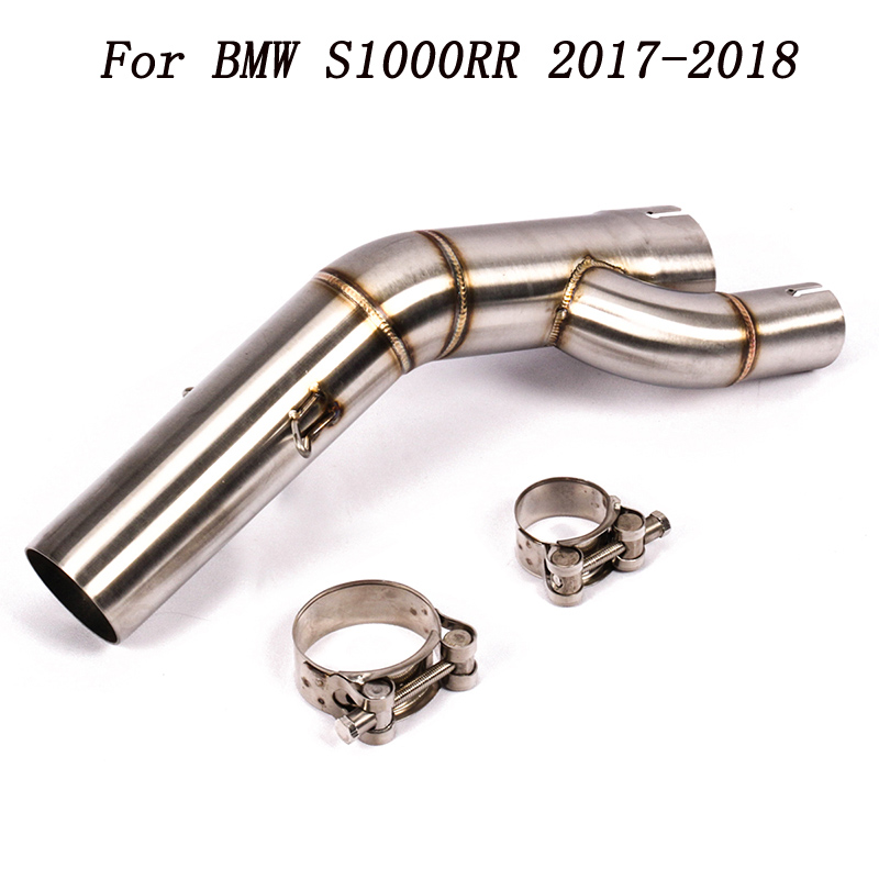 For BMW S1000RR S1000XR <font><b>S1000R</b></font> 2017 2018 Motorcycle 51mm <font><b>Exhaust</b></font> Middle Link Pipe Escape Connection Pipe System Connector image
