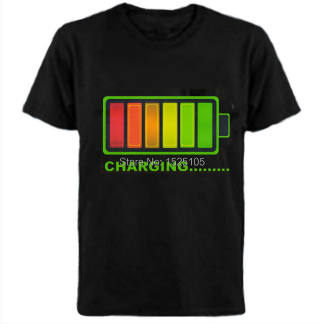 Battery Charger design sound activated led Flashing t shirt with 4pcs AAA battery inverter Free Shipping