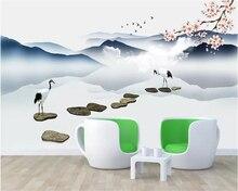 Beibehang Photo wallpaper Peach flower white crane stone lake landscape wall 3d wallpaper mural papel de parede 3d papier peint цена и фото