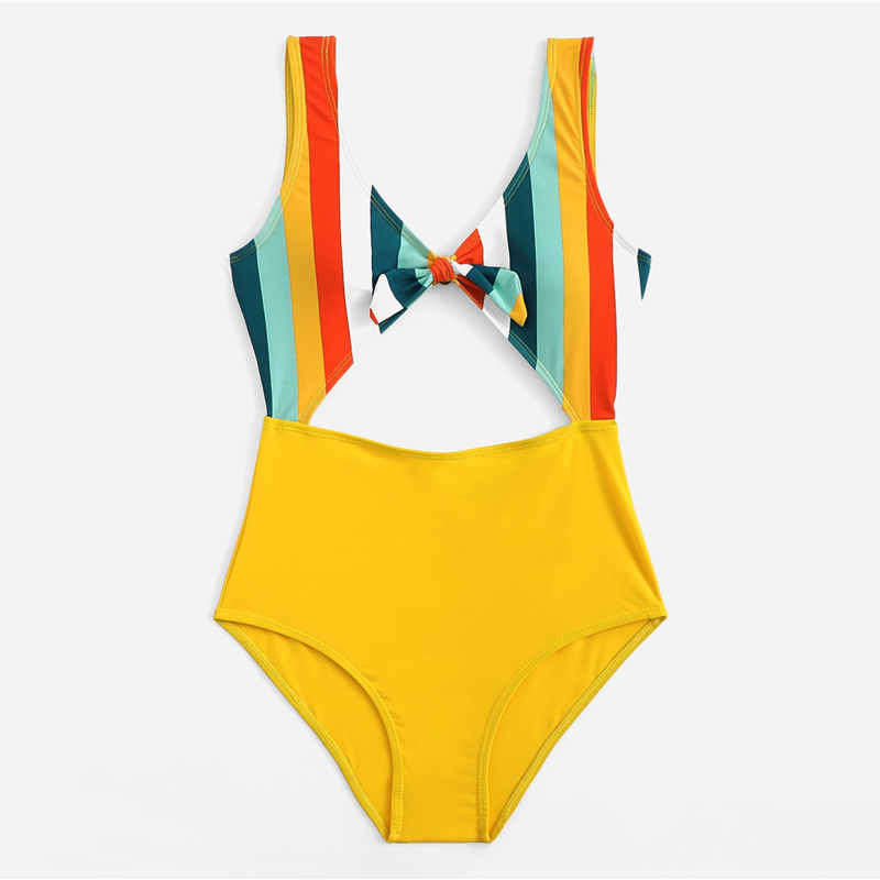 Romwe Sport Multicolor Striped Knot Front Cut Out Swimsuit Women Summer Beach Sexy Wireless Plunge Neck One Pieces Swimwear 15