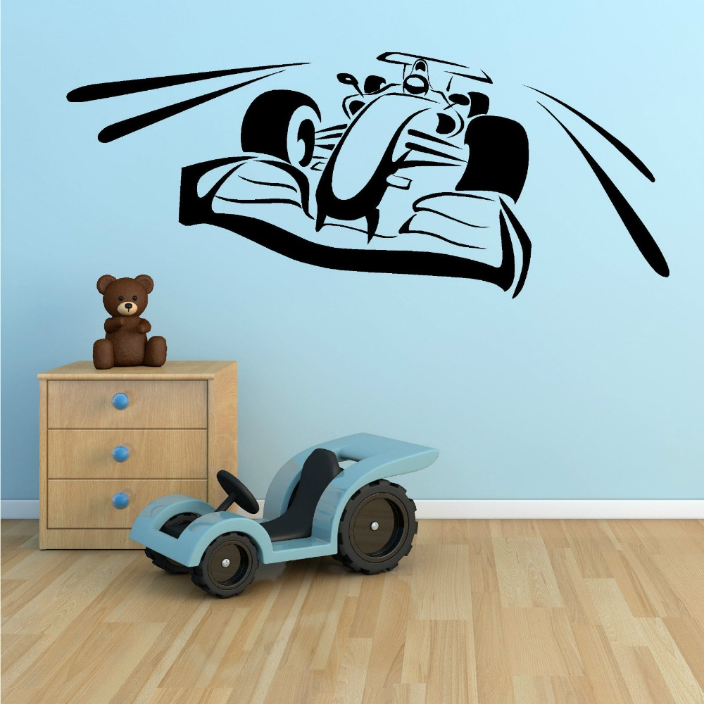 Kids Bedroom Nursery Wall Decals F1 VOITURE DE COURSE Autocollant art mural vinyle chambre sport automobile adesivo de parede