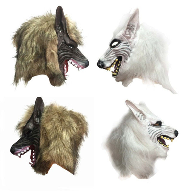 2017 Halloween Animal Wolf Head Mask with Hair for Party Fancy Scary Dress Costume Accessories Two  sc 1 st  AliExpress.com & 2017 Halloween Animal Wolf Head Mask with Hair for Party Fancy Scary ...