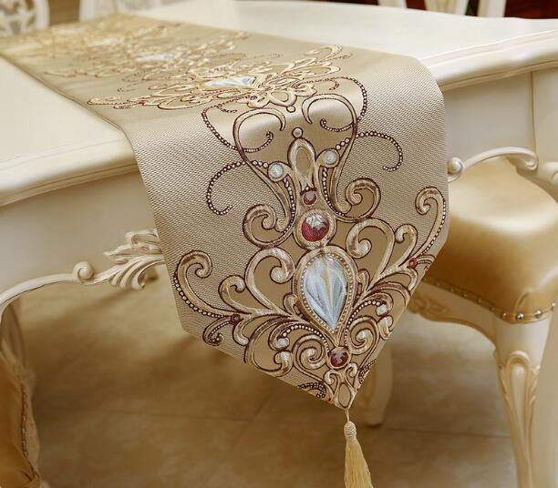 Luxury European Style Embroidery Table Runners Elegant Home Decoration Wide  Table Runner Yellow And Blue