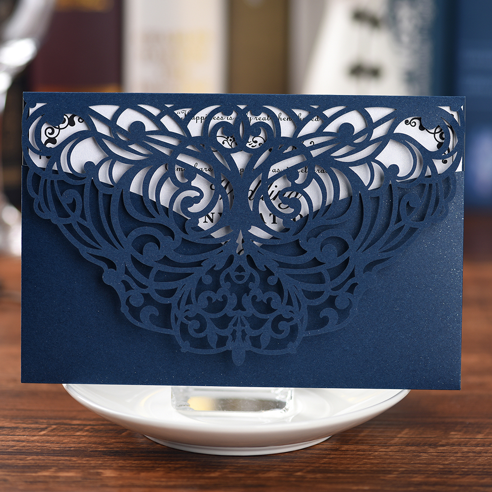 photograph relating to Printable Cardstock Invitations identified as US $0.75 49% OFFNavy Blue lace reduce distinctive marriage cardsInvitations,210G paper Cardstock bash invitation manufacturers with printable paper card-within just