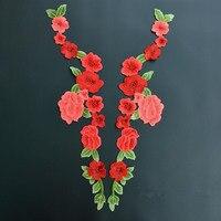 1 paire = 2 pièces Brodé Floral Dentelle Encolure Cou Garniture Vêtements À Coudre Applique style Broderie bord
